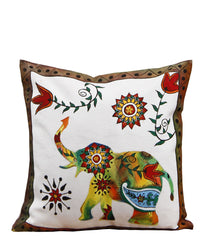 Hand-painted Floral Elephant  Cushion Cover - RANGRAGE