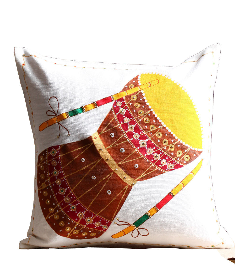 Hand-painted Colorful Damaru Cushion Cover - RANGRAGE
