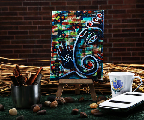 Hand-painted Contemporary Ganesha Mini Painting