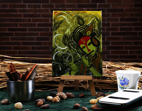 Hand-painted Majestic Krishna Mini Painting