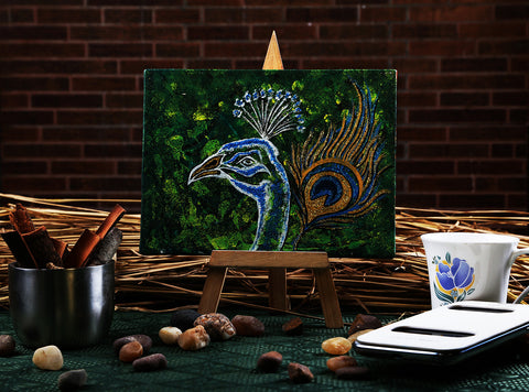 Hand-painted Sparkling Peacock Mini Painting