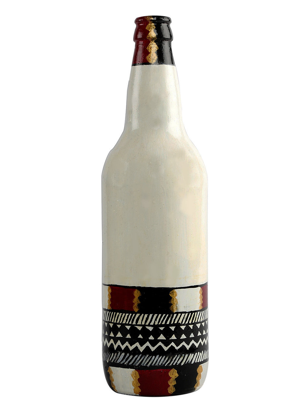 Hand-painted White Bottom Warli Twist Decorative Bottles - RANGRAGE