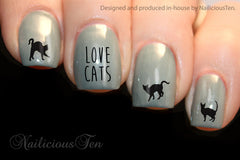 Love Cats Collection Nail Water Transfer Wraps 21pcs