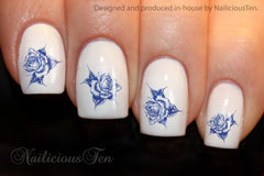 Blue Roses Collection Nail Water Transfer Wraps 21pcs