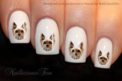 Yorkshire Terrier Design Nail Art Wraps Water Transfer Wraps 21pcs