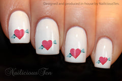 Hearts with Arrow Nail Water Transfer Wraps 21pcs