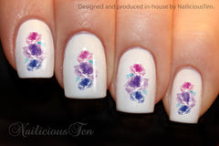 Purple Roses Collection Nail Water Transfer Wraps 21pcs