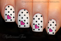 Heart & Dots  Nail Water Transfer Wraps 12pcs