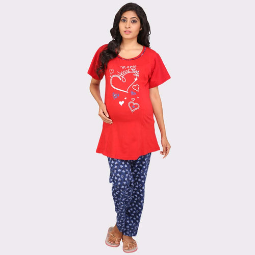 Red & Blue Printed Top & Pyjama Maternity Set