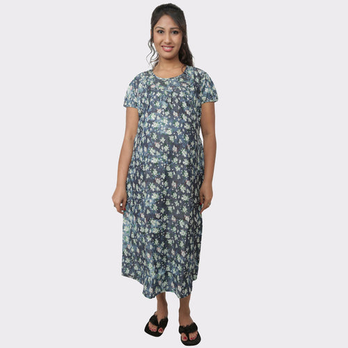 Stone Blue Floral Denim Maternity Dress