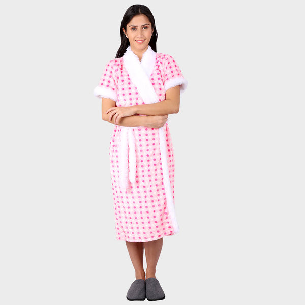 Pink & White Polka Printed Bathrobe