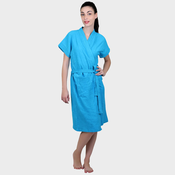 Blue Water Absorbent Cotton Bathrobe