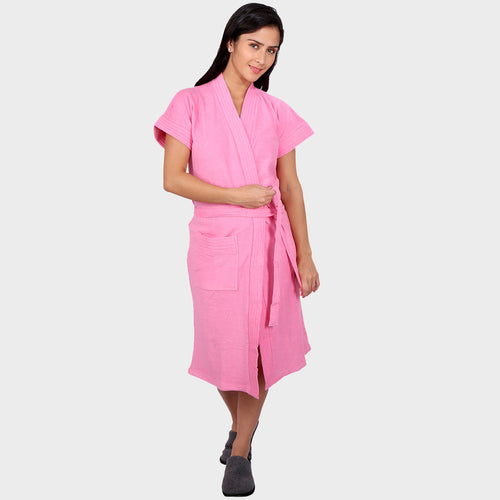 Pink Solid Water Absorbent Cotton Bathrobe