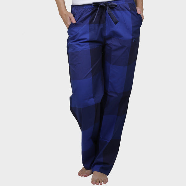 Berry Blue Checkered Cotton Pyjama