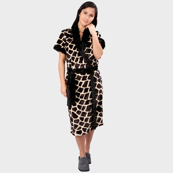 Giraffe Print Bathrobe