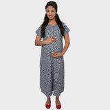 Blue Printed Denim Maternity Dress