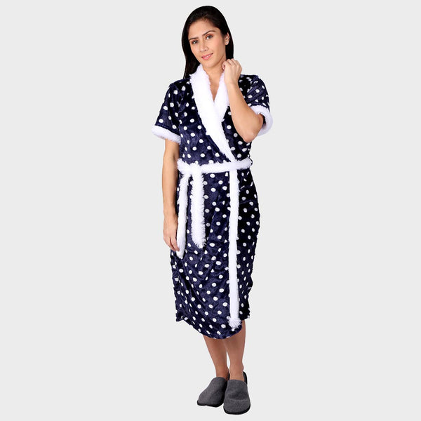 Navy Blue & White Polka Printed Bathrobe