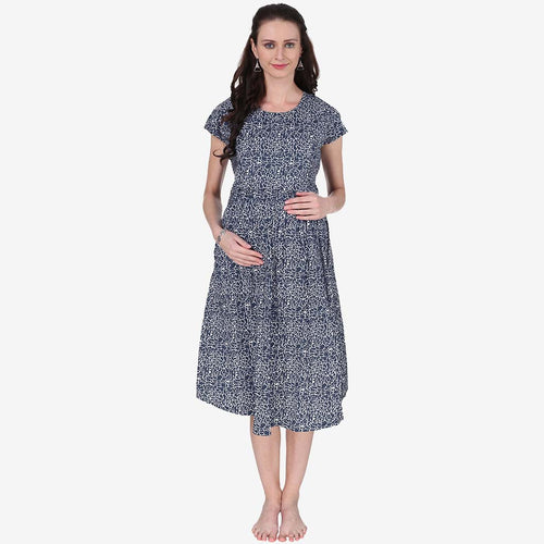 Arctic Blue Printed Maternity Dress