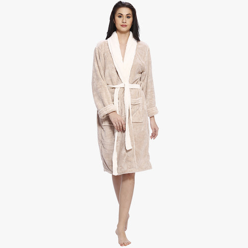 Beige Solid Bathrobe