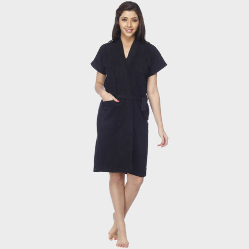 Jet Black Solid Water Absorbent Cotton Bathrobe