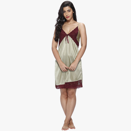Vixenwrap Olive Green & Cherry Red Satin Babydoll