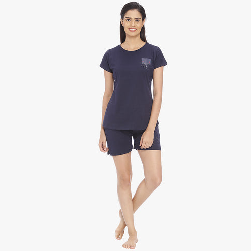 Navy Blue Hosiery Solid Top & Shorts Set