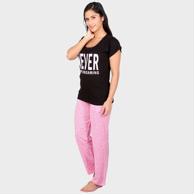 Black & Pink Printed Top & Pyjama Set