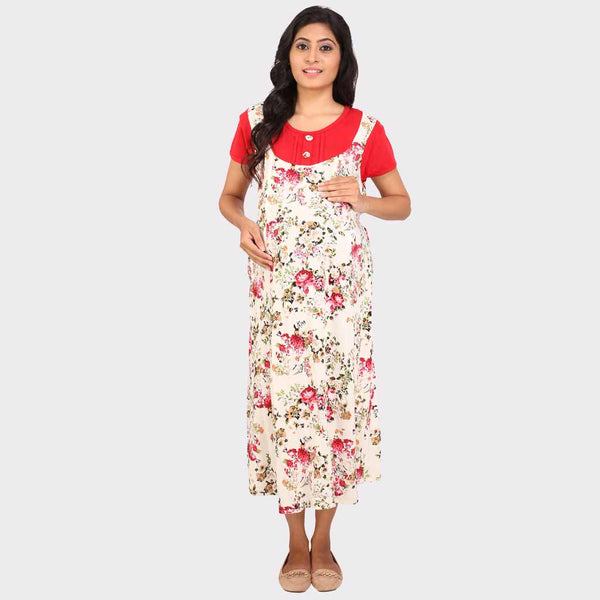 3f44b90b4e Cream White Floral Maternity Dress – Vixenwrap