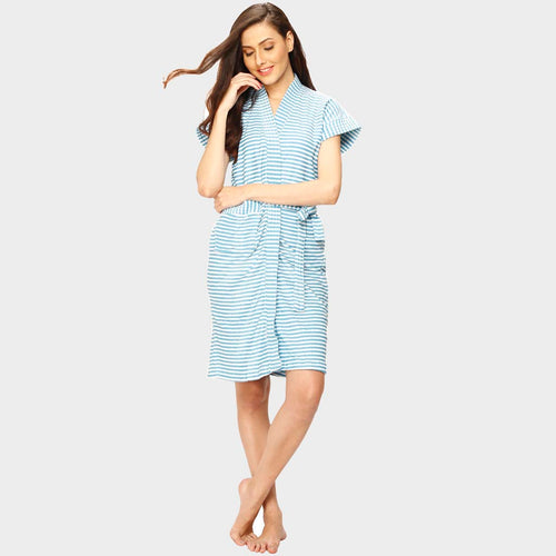 Blue Stripes Water Absorbent Cotton Bathrobe