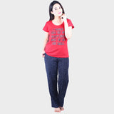 Red & Blue Printed Top & Pyjama Set
