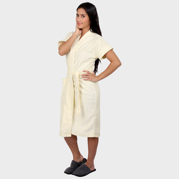 Cream White Solid Water Absorbent Cotton Bathrobe