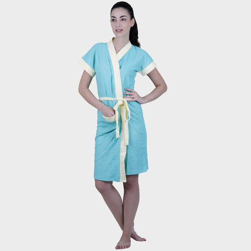 Arctic Blue Solid Water Absorbent Cotton Bathrobe