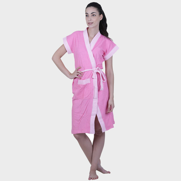 Taffy Pink Solid Water Absorbent Cotton Bathrobe