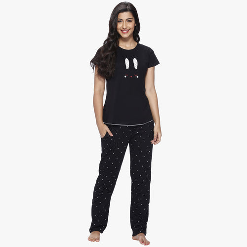 Vixenwrap Jet Black Hosiery Printed Top & Pyjama Set