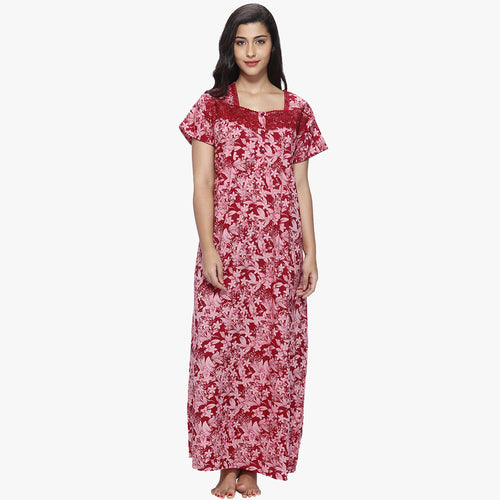 Vixenwrap Red Floral Print Cotton Nighty