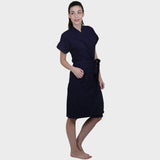 Navy Blue Water Absorbent Cotton Bathrobe