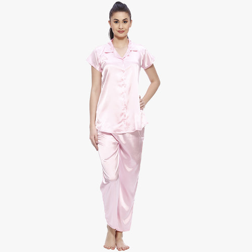 Cute Pink Satin Nightsuit
