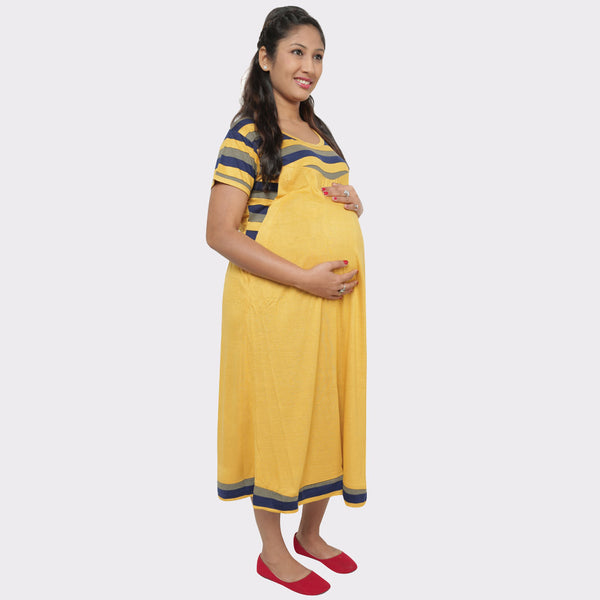 Yellow Solid Cotton Maternity Dress