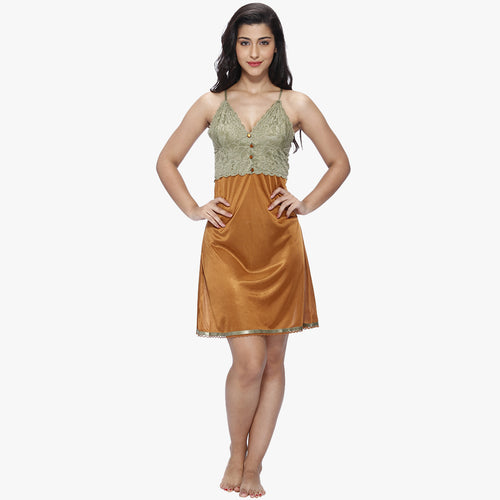 Vixenwrap Copper Brown Satin Babydoll