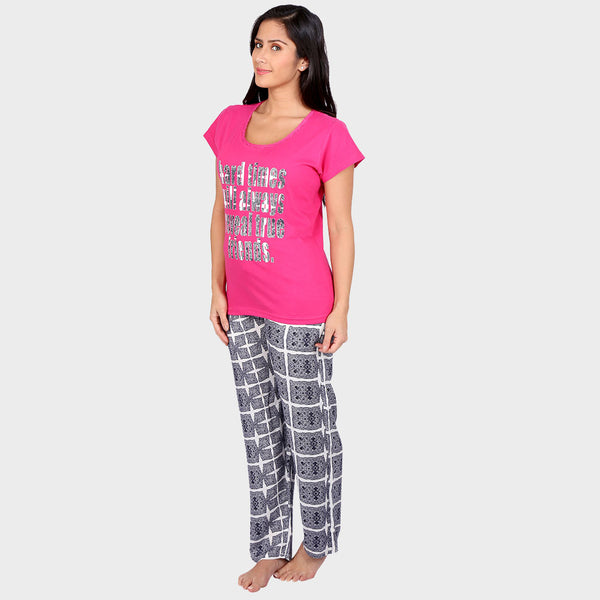 Hot Pink Printed Top & Pyjama Set