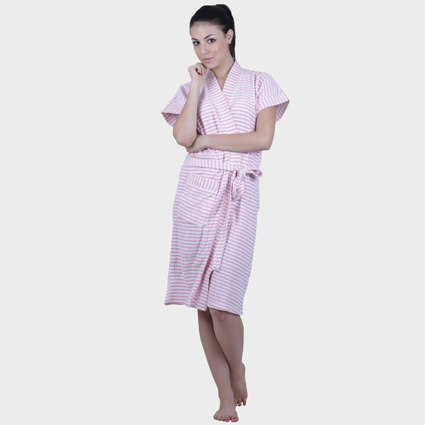 Daisy Pink Stripes Water Absorbent Cotton Bathrobe