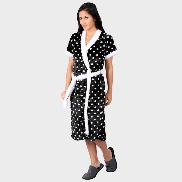 Black & White Polka Printed Bathrobe