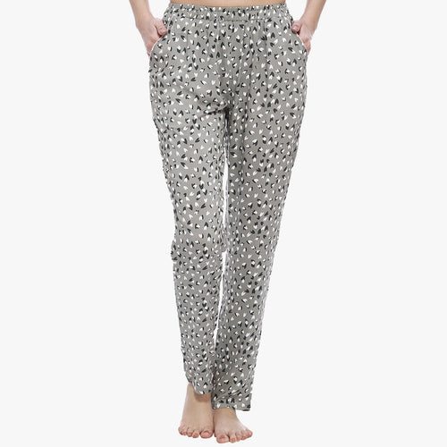Cute Grey Rayon Printed Pyjama