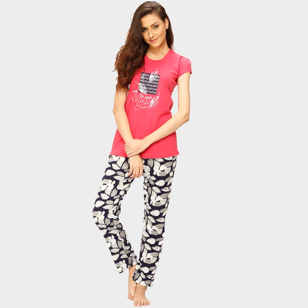 Vixenwrap Rose Pink & Multicolor Printed Top & Pyjama Set