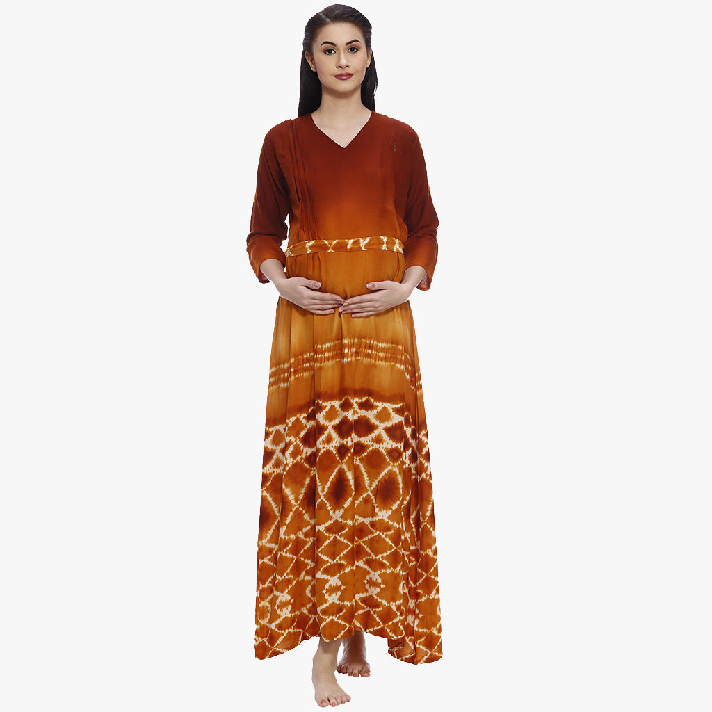 a69caaddc6 Autumn Orange Rayon Printed Maternity Dress – Vixenwrap