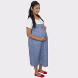Blue Printed Cotton Maternity Dress