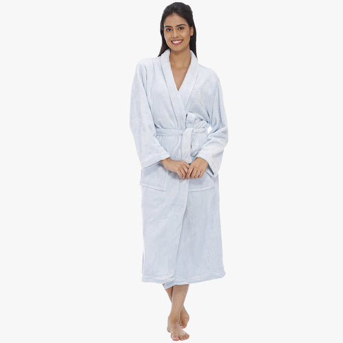 Blush Blue Fleece Bathrobe