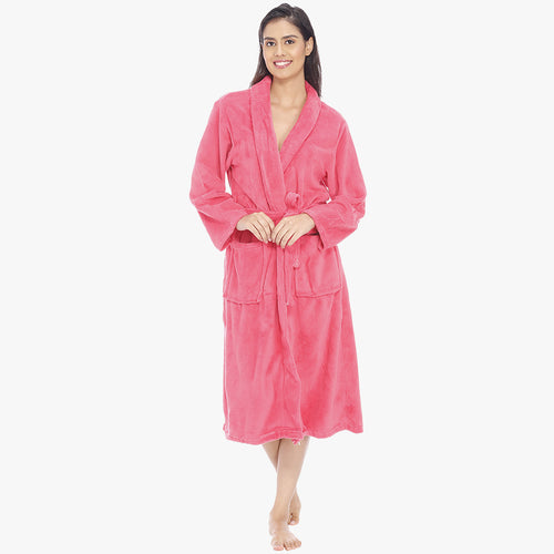 Amarnath Pink Fleece Bathrobe