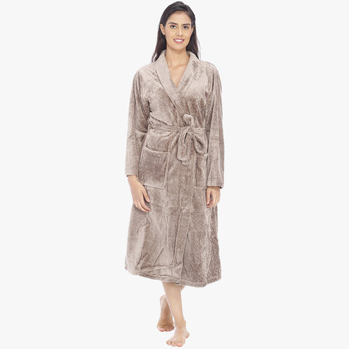 Camel Brown Fleece Bathrobe