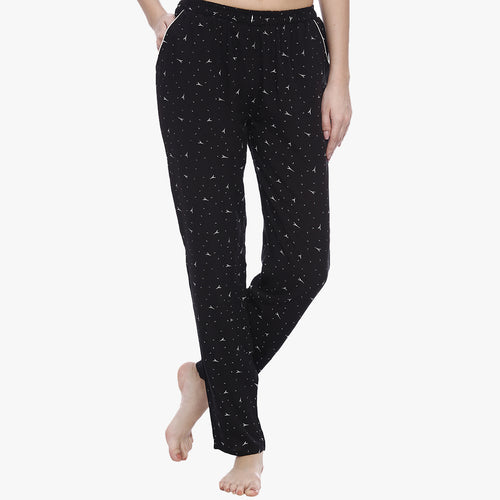 Absolute Black Rayon Printed Pyjama